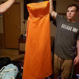 Strapless orange dress